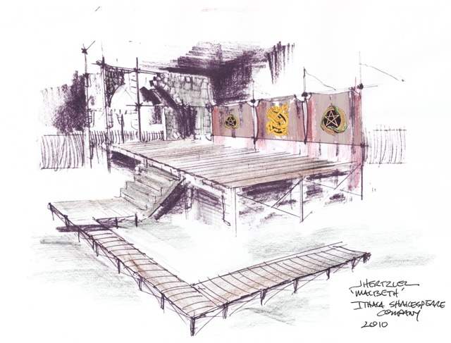 A Preliminary Concept Sketch For The Macbeth Set
